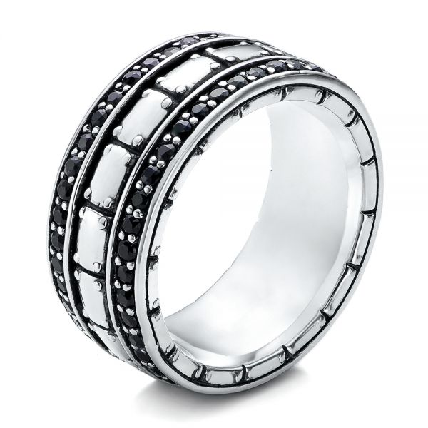Men's Sterling Silver Brick Band - Image