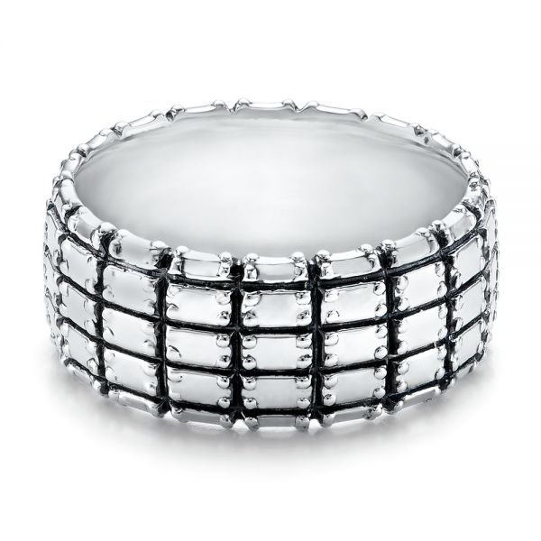 Men's Sterling Silver Brick Band - Flat View -