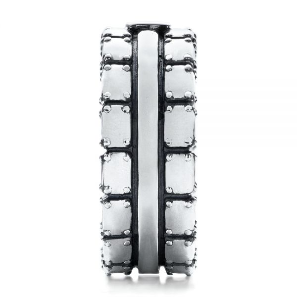 Men's Sterling Silver Brick Band - Side View -  101179