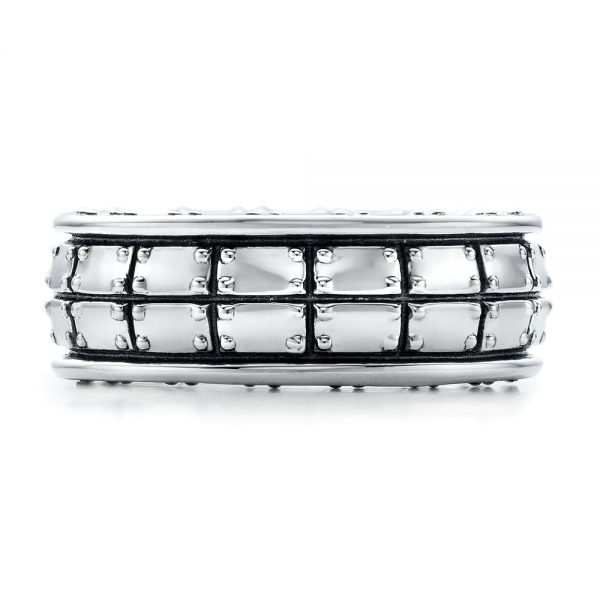 Men's Sterling Silver Brick Band - Top View -
