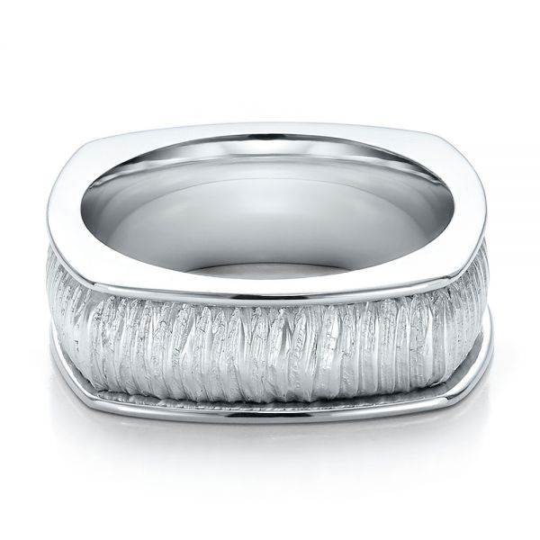 18k White Gold Mens Textured Wedding Band - Flat View -