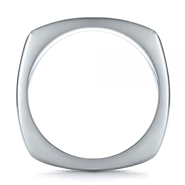 18k White Gold Mens Textured Wedding Band - Front View -