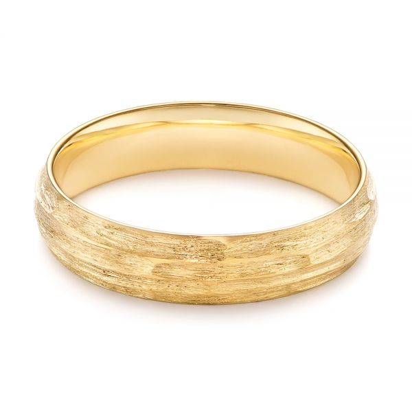 14k Yellow Gold Men's Textured Wedding Band - Flat View -  105704