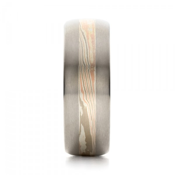Men's Palladium Mokume Wedding Band - Side View -  1464 - Thumbnail