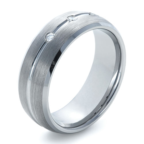 Men's Tungsten Ring with Channel Set Diamonds