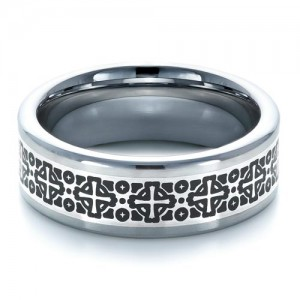 Men's Tungsten Ring with Contrasting Finish
