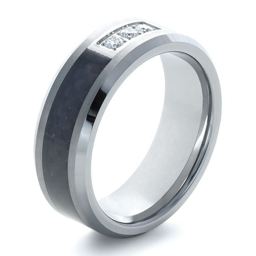 Men's Tungsten Ring with Diamonds - Three-Quarter View -  1362 - Thumbnail