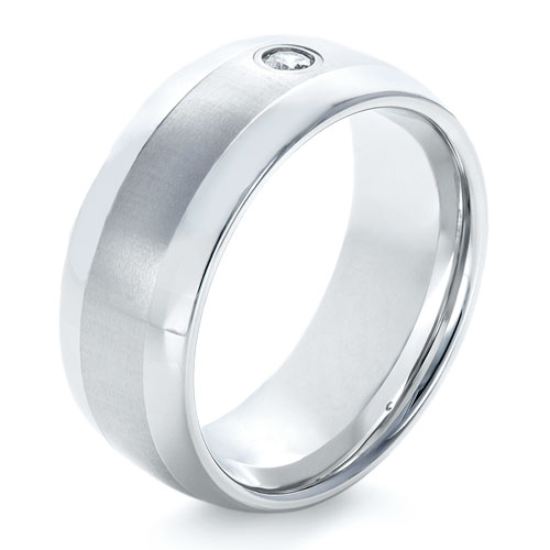 Men's Tungsten Ring with Diamonds - Image