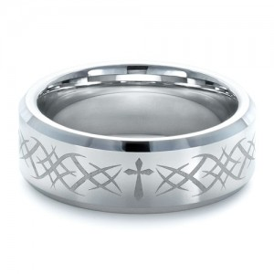 Men's Tungsten Ring with Pattern Finish