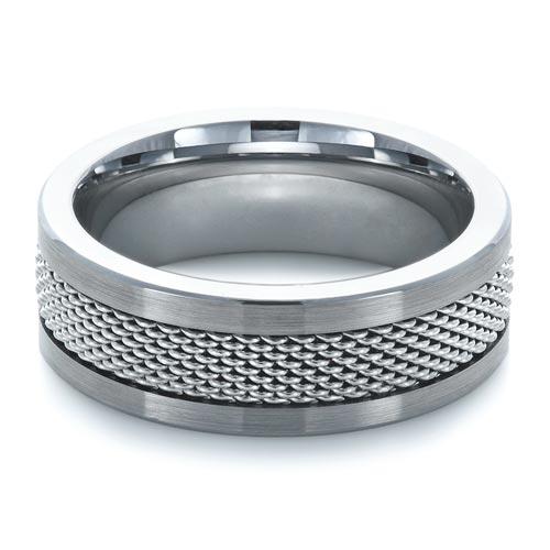 Men's Tungsten & Steel Ring - Laying View
