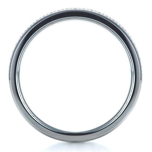 Men's Tungsten & Steel Ring - Finger Through View