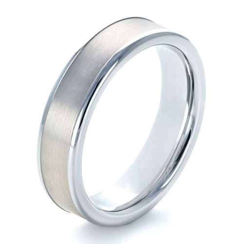 Men's Tungsten and 14k White Gold Ring