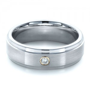 Men's Tungsten and 18k Yellow Gold Ring with Diamond
