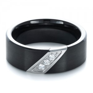 Men's Tungsten and Diamond Ring