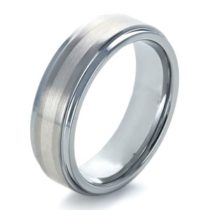Men's Tungsten and Platinum Ring