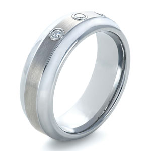 Men's Tungsten Carbide Wide Step Edge Ring with Diamonds
