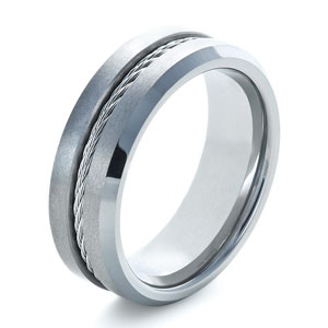 Men's Tungsten and Steel Ring with Cable