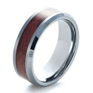 Men's Tungsten and Wood Inlay Ring - Image