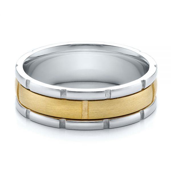 18K Gold And 18k Yellow Gold Mens Two-tone Brushed Wedding Band - Flat View -