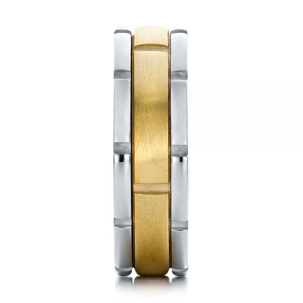 18K Gold And 18k Yellow Gold Mens Two-tone Brushed Wedding Band - Side View -