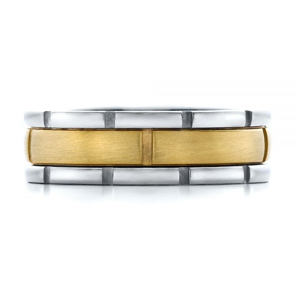 18K Gold And 18k Yellow Gold Mens Two-tone Brushed Wedding Band - Top View -