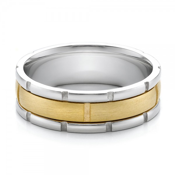 Men S Two Tone Gold Brushed Wedding Band 100172