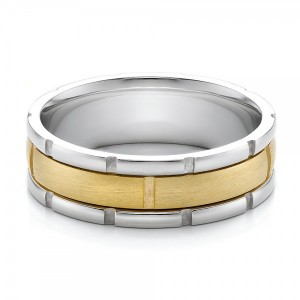 Men's Two-Tone Gold Brushed Wedding Band