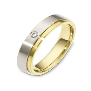 Men's Two-Tone Gold & Diamond Band