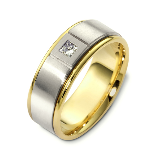 Men s Two Tone Gold and Diamond Band 468