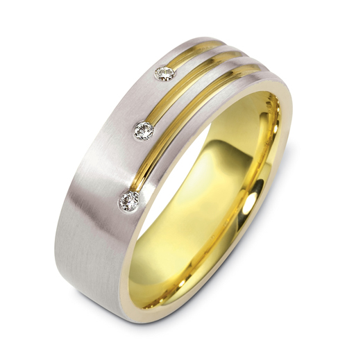 Men's Two-Tone Gold and Diamond Band - Flat View -  471 - Thumbnail