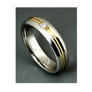 Men's Two-Tone Gold and Diamond Band - Samuel Jewels