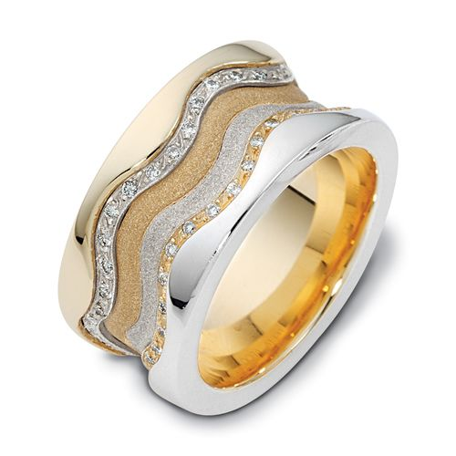 Men's Two-Tone Gold and Diamond Band - Image