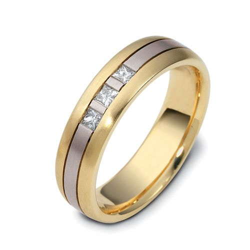 18k Yellow Gold And 18K Gold Men's Two-tone Diamond Band - Three-Quarter View -