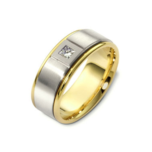 Men's Two-Tone Gold and Diamond Band