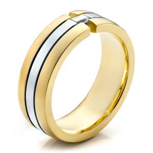 Men's Two-Tone Gold and Diamond Wedding Band - Image