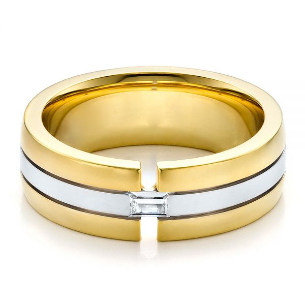 18k Yellow Gold And 18K Gold Mens Two-tone Diamond Wedding Band - Flat View -