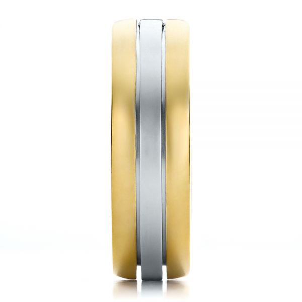 18k Yellow Gold And 18K Gold Mens Two-tone Diamond Wedding Band - Side View -