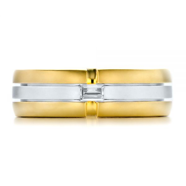18k Yellow Gold And 18K Gold Mens Two-tone Diamond Wedding Band - Top View -