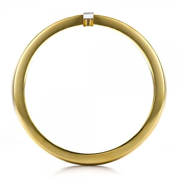 Men's Two-Tone Gold and Diamond Wedding Band - Finger Through View