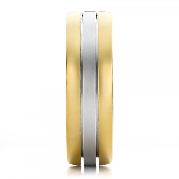 Men's Two-Tone Gold and Diamond Wedding Band - Side View