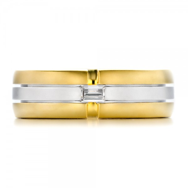 Men's Two-Tone Gold and Diamond Wedding Band - Top View