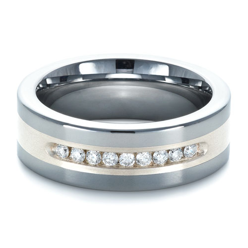 Men's Two-Tone Tungsten Ring with Diamonds