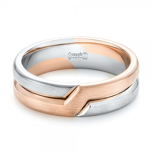 Two-Tone Men's Wedding Band - Laying View