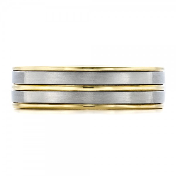 Men's Two-Tone Wedding Band - Top View
