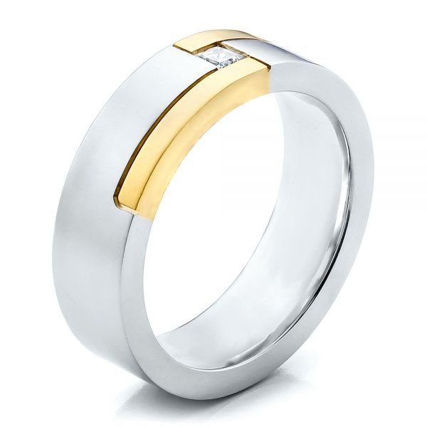 Men's Two-Tone and Diamond Wedding Band - Image