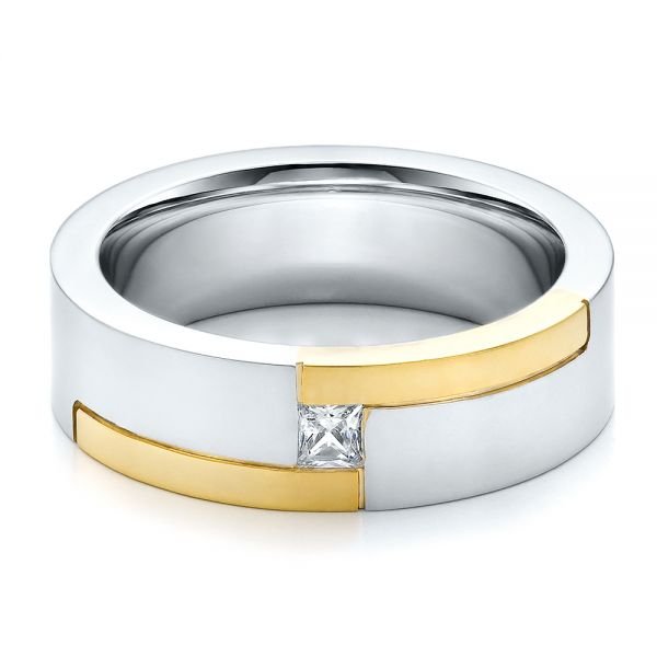 Platinum And 18k Yellow Gold Men's Two-tone And Diamond Wedding Band - Flat View -