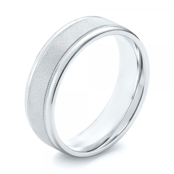 Sandblasted Men's Wedding Band - Three-Quarter View -  103020 - Thumbnail