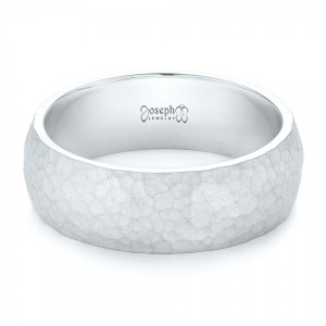 Men's White Gold Hammered Matte Finish Wedding Band