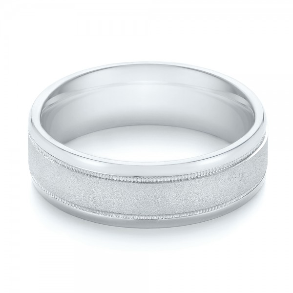 Sandblasted Men's Wedding Band - Flat View -  103020 - Thumbnail