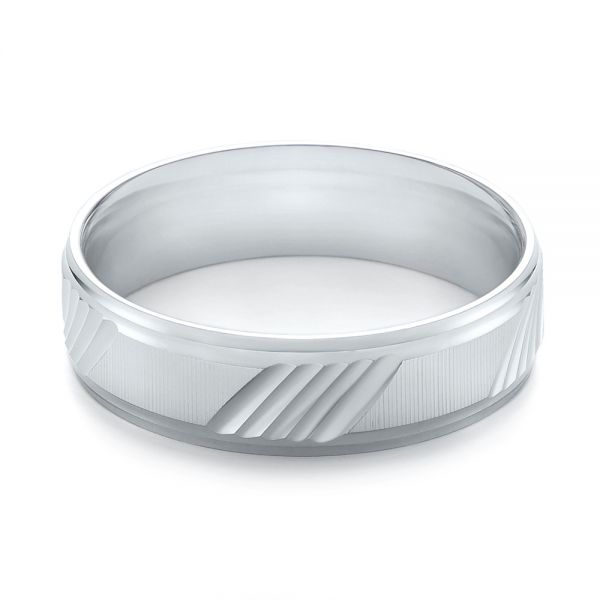 White Gold Men's Wedding Ring - Flat View -